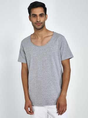 Blue Saint Textured Scoop Neck T-Shirt