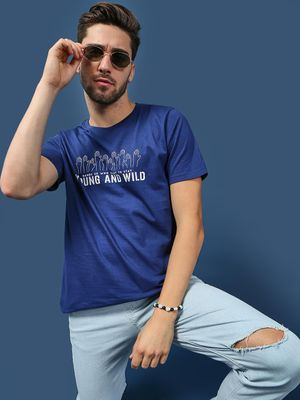 Blue Saint Slogan Placement Print Crew Neck T-Shirt