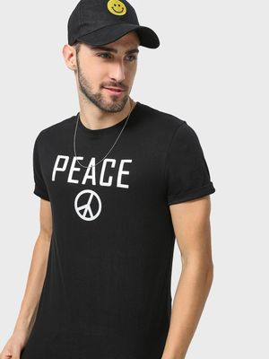 Blue Saint Peace Text Round Neck T-Shirt