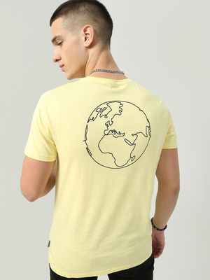 Blue Saint Back Globe Print Crew Neck T-Shirt