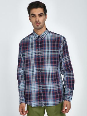Blue Saint Contrast Placket Check Shirt
