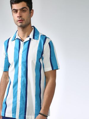 Blue Saint Vertical Stripes Cuban Collar Shirt