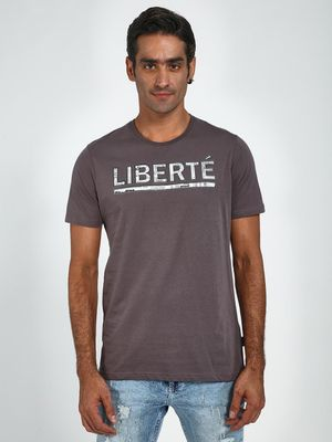 Blue Saint Liberte Text Print Crew Neck T-Shirt