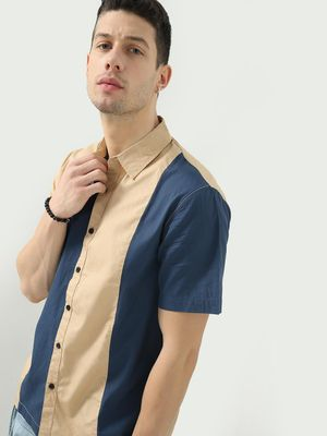 Blue Saint Color Block Stripes Shirt