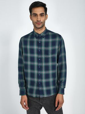 Blue Saint Contrast Buttons Check Shirt