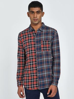 Blue Saint Contrast Half And Half Tartan Check Casual Shirt