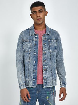 Blue Saint Denim Blue Washed Distressed Hem Jacket
