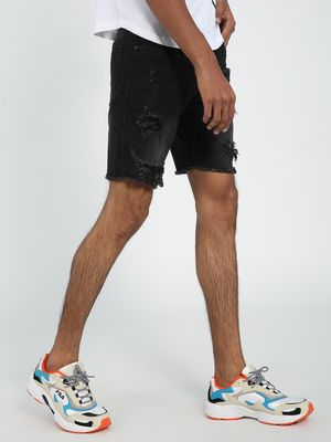 REALM Heavy Ripped Slim Denim Shorts