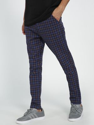 REALM Plaid Check Print Slim Chinos