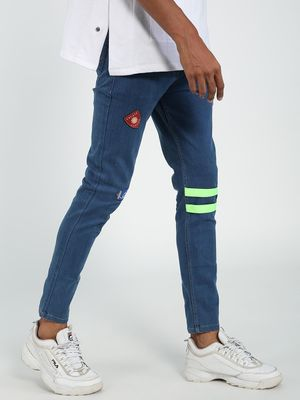 REALM Badge Applique Knee Strap Skinny Jeans