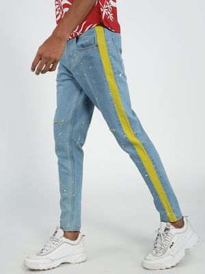 REALM Light Wash Ripped Splatter Slim Jeans