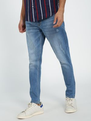 REALM Light Wash Distressed Slim Fit Jeans