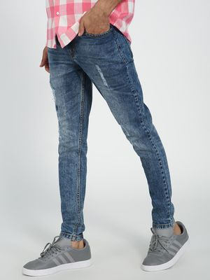REALM Light Wash Distressed Skinny Jeans