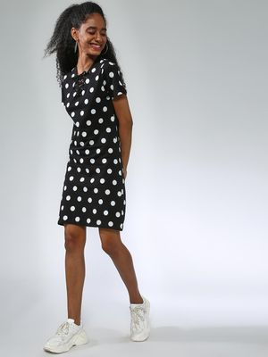 Kultprit Polka Dot Print Short Sleeves Dress