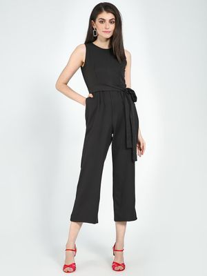 Femella Sleeveless Formal Belted Jumpsuit