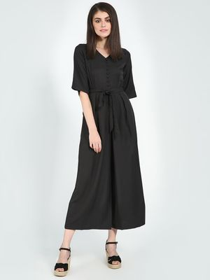 Femella Black Button Down Flared Jumpsuit