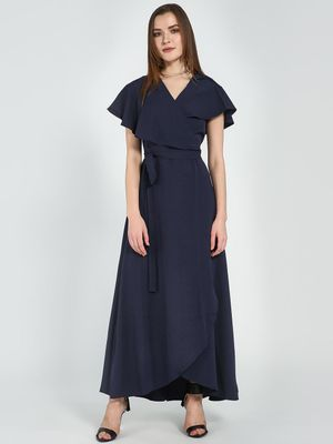 Femella Navy Cape Wrap Maxi Dress