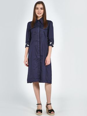 Femella Embroidered Cuff Midi Shirt Dress