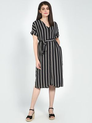 Femella Stripe Belted Midi Dress