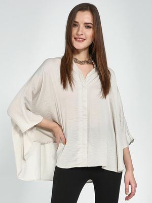 Femella Ivory Satin Oversized Shirt