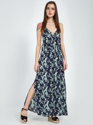 Femella Navy Tropical Strappy Maxi Dress