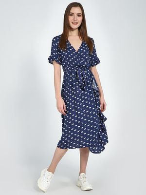 Femella Blue Elephant  Printed Wrap Dress