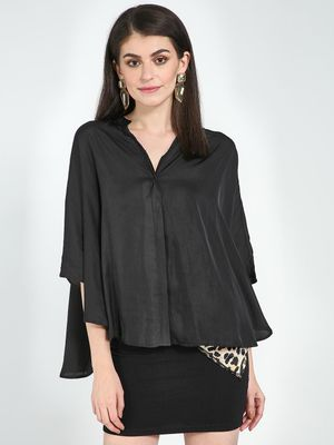Femella Black Satin Oversized Shirt