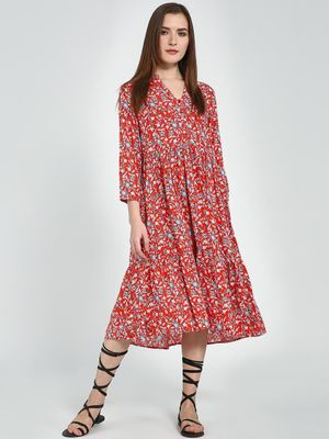 Femella Red Floral Button Down Tier Midi Dress