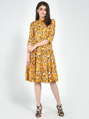 Femella Floral Tier Midi Shirt Dress
