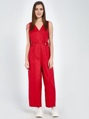 Femella Red Cotton Sleeveless Wrap Jumpsuit