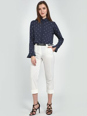 Femella White Rolled Up Pants
