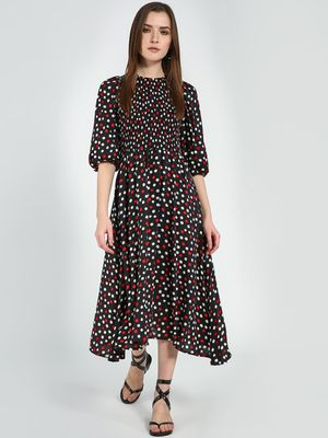 Femella Black Polka  Smocked Detailed Midi Dress
