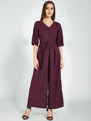 Femella Wine Button Down Flared Jumpsuit