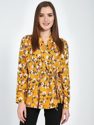 Femella Yellow Floral Wrap Pleated Top