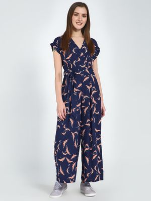 Femella Navy Blue Bird Printed Jumpsuit