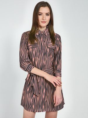 Femella Zebra Print Shirt Dress