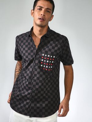 AMON Check Print Short Sleeve Shirt