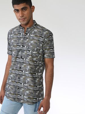AMON Cuban Collar Printed Casual Shirt