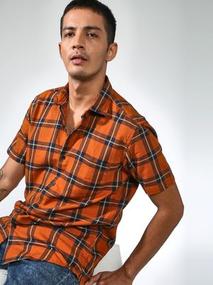 AMON Tartan Plaid Check Casual Shirt