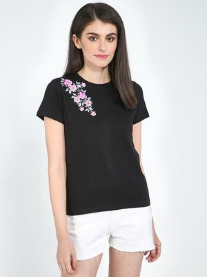 Blue Saint Floral Print Short Sleeve T-Shirt