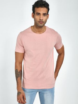 Blue Saint Men's Pink Regular Fit Round Neck T-Shirt