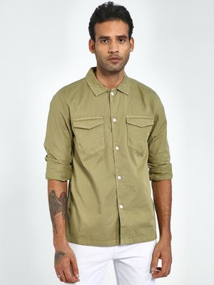 X.O.Y.O BLUE SAINT Olive Back Slogan Print Regular Fit Shirt