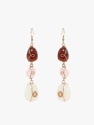 Blueberry Drop Stone Earrings