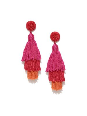 Blueberry Beaded Tassel Drop Earrings