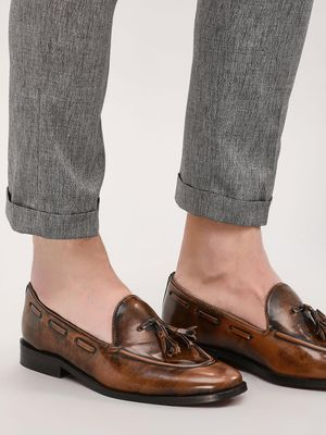 Griffin Two-Tone Burnished Tassel Loafers