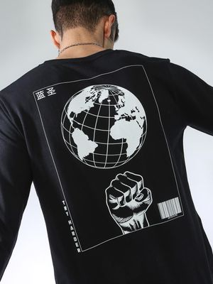 Blue Saint Back Globe Print Sweatshirt