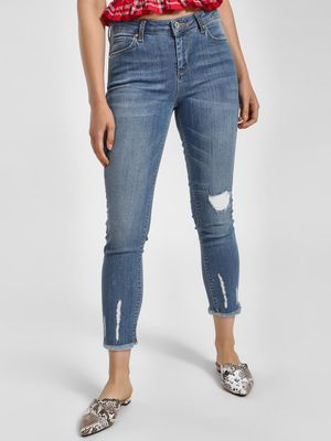 LC Waikiki Distressed Cropped Skinny Jeans