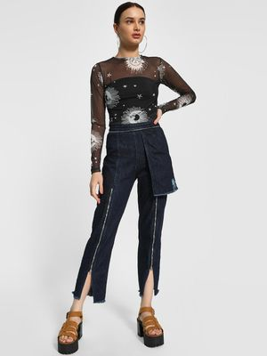 K Denim KOOVS Zipper Detail Cropped Jeans