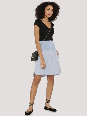 KOOVS Colour Block Pinstripe Skirt