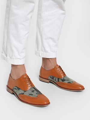 Bolt Of The Good Stuff Camo Print Brogue Derby Shoes